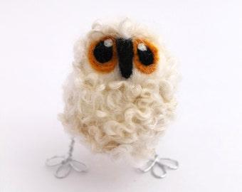 White Baby Owl, Felt Bird, Natural White Needle Felted Owl Baby