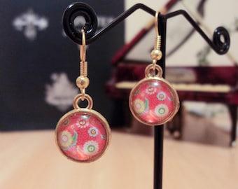 Earrings cabochon flower - Gold - 3.5 cm