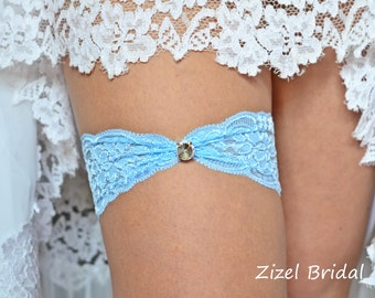 1 Wedding Garter, Blue Wedding Garte, Bridal Garter, Rhinestone Garter, Lace Blue Garter, Something Blue,Toss Garter, Blue lace Garter