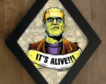 Frankenstein monster. It's Alive diamond framed print.