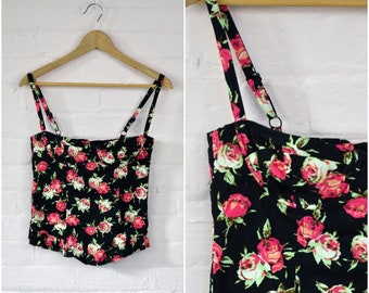 90s dark floral bustier · floral cropped corset top · rose floral bustier · flower print sleeveless tank · summer crop top · x small