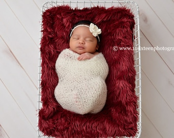 SET Off White Mohair Knit Baby Wrap and Headband Newborn Photography