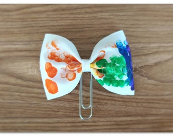 Lexie's Rainbow bow Planner clip, bookmark, planner bow clip, hand painted bow, finger painted bow