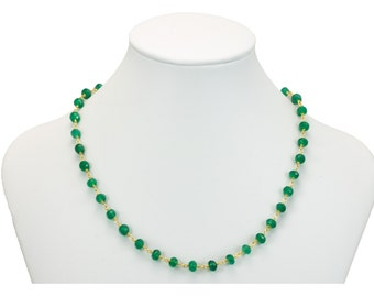 Green Onyx Necklace Faceted Spaced Link 5mm Beaded 14k Gold Necklace 18 19 Inches Rondelles AAA Cut Rich Emerald Green in Color