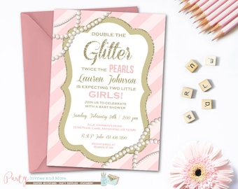 Twins Baby Shower Invitation, Glitter and Pearls Invitation, Baby Shower Invitation, Pearls Baby Shower Invitation, Girl Baby Shower Invite