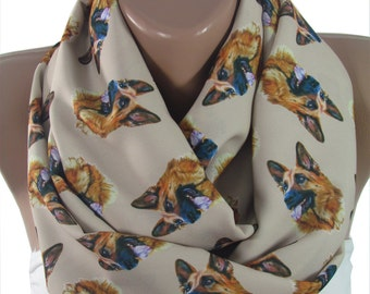 Pet Gift Dog Scarf German Shepherd Scarf Infinity Scarf Dog Lover Gift  Gift For Her For Dog Lover Year Of The Dog Gift For Women