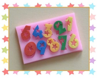 Silicone mold: starred numbers from 0 to 9.