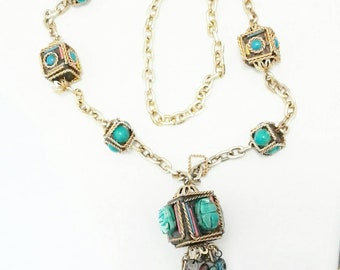 Amazing 1970s or earlier statement Egyptian themed costume opulent colourful gold chain necklace with turquoise scarab beetles