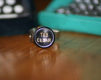 Tab Clear Typewriter Key Ring
