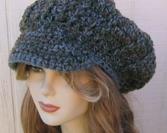 Grey Boucle Newsboy hat, Visor Slouchy Beanie NEWSBOY cap, woman or man billed cap, urban gray adult newsboy cap