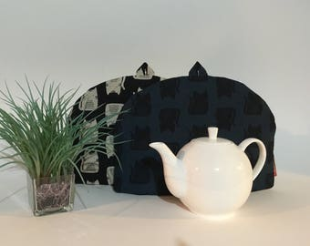 "Teapot Cozy - ""Mod Kitty"", Linen Cotton Tea Cozy"