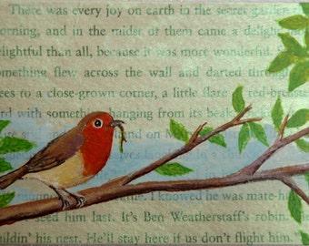 Secret Garden Robin - painting on book page  - Original art ACEO - little bird in springtime