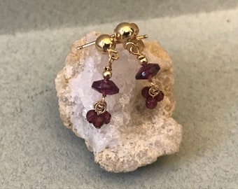 Facetted Garnet and Gold-filled Earrings