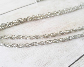 Double Cable Chain Necklace Silver Necklace Chain 28 Inch Chain Antiqued Silver Chain