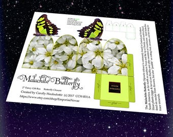 Malachite Butterfly - Decorative Display Gift Box Butterfly Closure -Digital Download-Printable DIY Gift Box Papercraft - Arts and Crafts