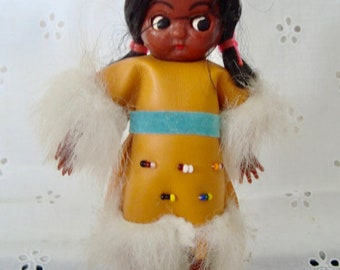"""Vintage Native American Indian 5 3/4"""" Hard Plastic Doll Open Shut Eyes & Movable Arms - Hong Kong Foil Label"""