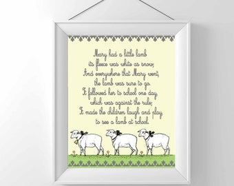 Nursery Print - Nursery Rhyme -Mary had a little lamb - Vintage - Children Wall decor - Classic - gender neutral