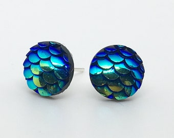 Blue Mermaid Scale Post Earrings - Simple Dragon or Fish Scale Simple Stud Earring Set - Available In Additional Colors