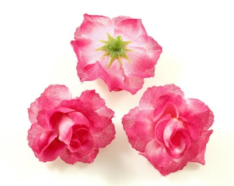 Set of 3 artificial flowers without 4cm stem - fuchsia