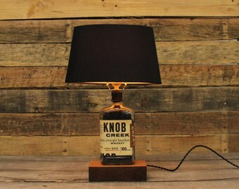 Knob Creek Bourbon Bottle Table Lamp / Whiskey Bottle Light, Bourbon Gift / Man Cave Lighting / Bourbon Barrel Char, Father's Day Gift