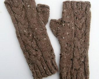 Tricoter des mitaines textos câblé gants en Tweed, cadeau de fête des mères