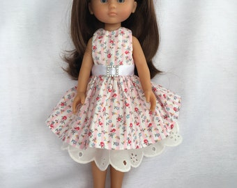 Corolle Les Cheries Pink Striped floral dress with petticoat and diamanté belt
