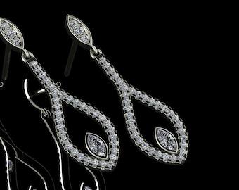 14K White Gold Earring with White Diamonds    M-ER1006