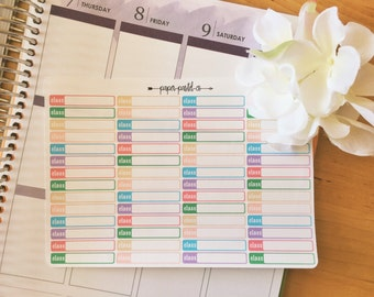 Pastel Class Label Stickers, Planner Stickers for use with Erin Condren Life Planner™, Happy Planner, Recollections Planner
