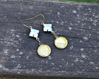 Tiny Locket Earrings handmade jewelry gift with tiny vintage brass lockets and vintage milky glass charms in raw brass settings