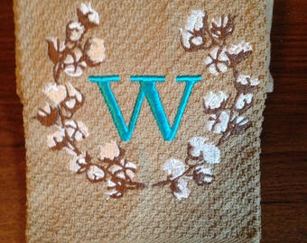 Embroidered cotton stem kitchen towel with font