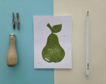 Linoleum print/card pear