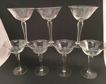 Vintage Barware Glasses - Set of 7 - Martini Glasses - Champagne Glasses - Coupe Glasses - Martini Glass - Champagne Glass - Coupe Glass