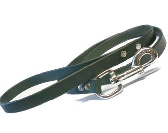"""3/4"""" wide All Black Chahin English Bridle Leather Dog Leash w/ Nickel-Plated Steel Hardware  up to 4 ft long"""