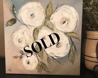 SOLD White blossom floral 12x12 Acrylic painting Gallery Wrapped Canvas - See item details for painting another.