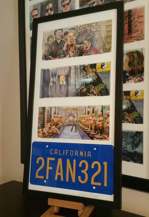 Framed 3 Big Trouble in Little China prints with The Pork Chop Express License Plate