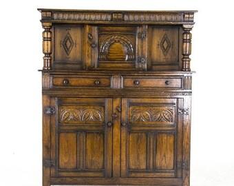 Oak Court Cupboard   Carved Oak Sideboard   Scotland, 1910   B870