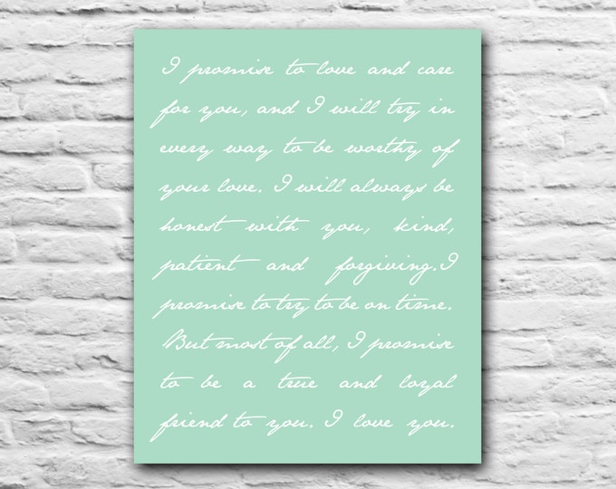 Anniversary Gift For Wife Husband  - Custom Personalized Typography Quote Script - Wedding Vows Wedding Song Lyrics - Minimalist Art Print