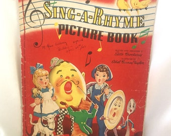 Vintage linen Sing A Rhyme childrens picture book