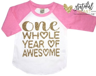 One shirt, pink raglan, First birthday outfit, First birthday shirt, Toddler birthday outfit, Toddler birthday shirt, I'm One shirt