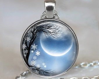Winter Solstice necklace, new moon necklace new moon pendant Solstice jewelry Pagan jewelry Wiccan jewelry key chain key ring