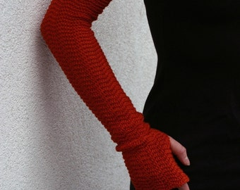 Zigzac arm warmers Roast Orange Mittens Pure Merino Fingerless Gloves