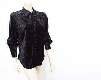 Free Shipping* Velveteen Blouse, 1990s, Retro Shirt, Black Blouse, Velvet, Vintage Clothing, Retro, Pinup, Boho, Hippie, Hippy