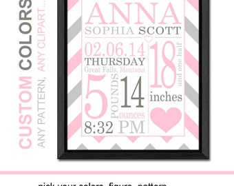 personalized baby gifts love heart, new baby girl gift, subway art birth announcement, baby nursery art, birth stats print,baby girl nursery