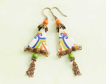 Colorful Triangle Bohemian Vintage Tin Earrings with Red and Orange Wood Beads and Antique Copper Chain Tassels, Vintage Tin Jewelry