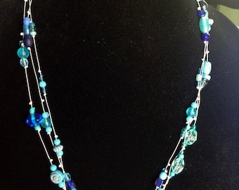 Shades of Blue Multi Strand Necklace