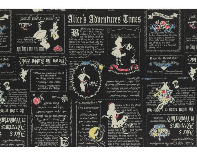 Alice in Wonderland - Alice's Adventures Times L40678-100 Black, Japanese Cotton Linen Girl's Story by Lecien of Japan, half yard