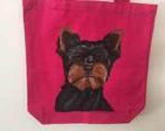 Reuseable Canvas Tote with a Yorkshire Terrier (dark coat)