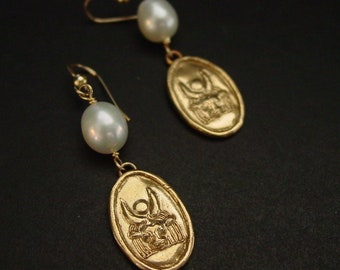 Hathor | Egyptian Goddess of Love and Beauty | Earrings with pearl
