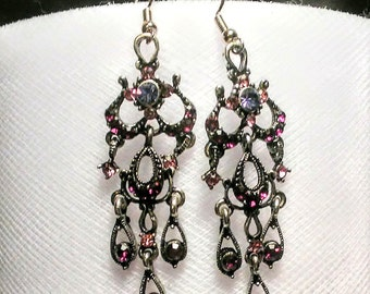 Beautiful long purple glass and metal charms earrings