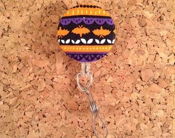 Halloween Bats Fabric Badge Reel Id Holder or Lanyard